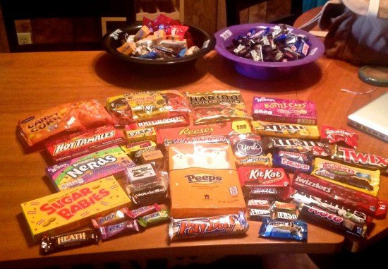 The loot from our raid on the impressive candy aisle at Walgreens (expanded for Halloween!).