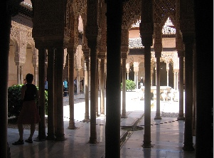 Courtyard with graceful pillars, alhambra