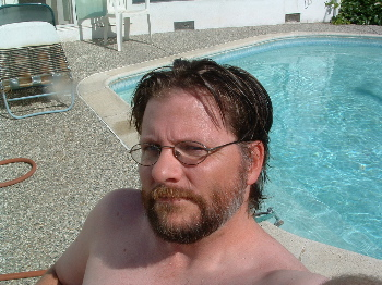 self-portrait by pool