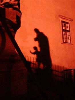 Shadows on the castle wall, Český Krumlov